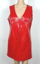 Mary Hays Red Womens VTG 13/14 Dress GoGo Mod Costume Twiggy Mini Faux Leather