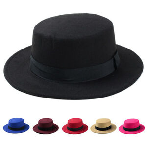 Fashion Kids Girls Bowler Hat Wide Brim Boater Sailor Cap Wool Blend Flat Top