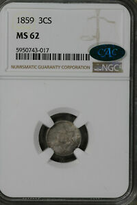 Nice Uncirculated 1859 Three Cent Silver!!  NGC MS62CAC!!