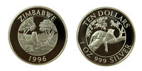 s1162_10) Zimbabwe 1996 Leopard 10 Dollars 1oz Silver Proof
