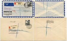 SWITZERLAND CHARGE 2 COVERS AIRMAIL REGISTERED 80c to GB DIFF TYPES of HANDSTAMP