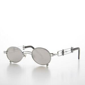 Silver Oval Steampunk Sunglasses Intricate Temple Design Mirror Lens - Darius