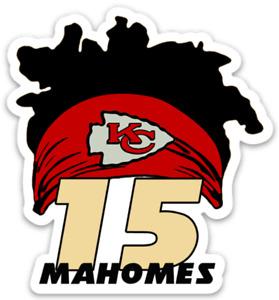 Kansas City Chiefs Patrick Mahomes Signature Hair & Headband Type Die-Cut MAGNET