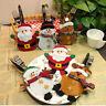 Bonhomme de Neige Père Noël Élan Couverts Étuis Cuillère Fourchette Poches