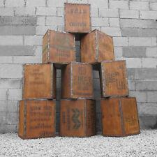 Vecchia Scatola da tè tronco petto scatola di immagazzinaggio comodino Cassa Legno Rustico Vintage 1970