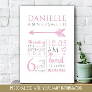 Personalised Baby Print, New Baby Girl Gift, Christening, Nursery Newborn Art 39