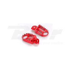 ART PEDANE MAGGIORATE IN ERGAL CNC ROSSE OFF ROAD FOOT PEGS RED HONDA