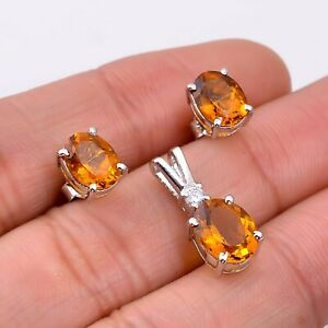 Natural Citrine Oval 925 Sterling Silver Women Earrings & Pendant Jewelry Set