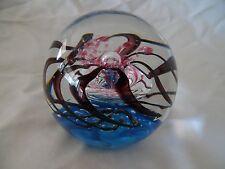 Beautiful Art Glass Paperweight with Blue and Pink Swirls