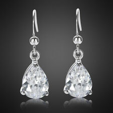 Women Jewelry White Topaz CZ 18K White Gold Plated Dangle Drop Hook Earrings