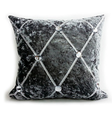 Cushion cover or cushions Crush Velvet fur diamante various designs silver17x17""