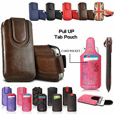 Luxury Pull Up Tab Pouch Sleeve Leather Case Cover For Various Mobile Phones