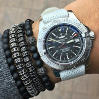New Anil Arjandas Macrame Bracelets Rhodium Plated Micro Pave CZ Stopper For Men