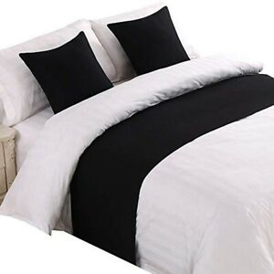 Hotel Bed Scarf Runner Cushion Cover Bedding Wedding Bedroom Home Solid Color
