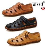 Men's Summer Flat Casual Beach Sandles Close Toe Leather Hollow Trekking Shoes