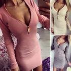 New Women Ladies Zip V Neck Long Sleeve Bodycon Cocktail Party Short Mini Dress