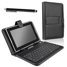 "Folio Stand Micro Keyboard Leather Case Cover For 7"" RCA Android 7 inch Tablet"