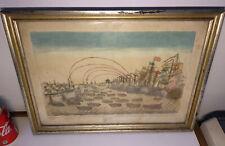 Antique colored etching engraving England conquers Havana 1762 battle Mondhare