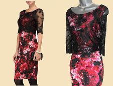 Phase Eight Black Amelia Rose Print Lace Silky Jersey Pencil Dress UK 10 £130
