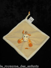 Doudou carré plat Girafe Baby Nat' Babynat' jaune orange blanc
