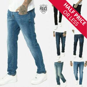 883 Police Mens Regular Fit New Straight  Designer Stretch Denim Jeans