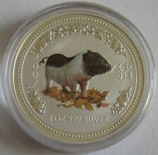 Australien 1 Dollar 2007 Lunar I Schwein Koloriert 1 Oz Silber