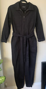 Urban Outfitters Black Boiler Suit Canvas Pockets  Belt Elastic Leg Cuff Small