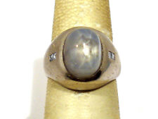SOLID PLATINUM NATURAL STAR SAPPHIRE & DIAMONDS MENS RING ~ SIZE 7 3/4