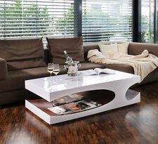 Couchtisch Wohnzimmertisch Designertisch Weiß Hochglanz Walnuss Extravagant Neu