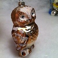 Martha Stewart  Brown Owl  Glass Christmas Tree Ornament  w Mica