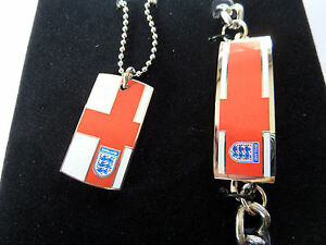 ENGLAND OFFICIAL F A  ST GEORGE & 3 LIONS DOG TAG & BRACELET new boxed