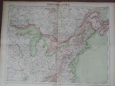 GRANDE CARTE GEO. ANCIENNE EN COULEURS 1920 ETATS-UNIS NORD-EST CANADA