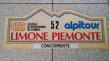 Targa RALLY LIMOME PIEMONTE cm 52 x 23 circa TARGA CONCORRENTE