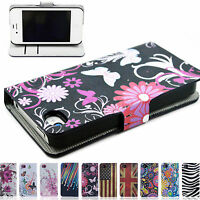 Elegant Flip Leather Card Holder Stand Phone Cover Case For Apple iPhone 4 4S 4G