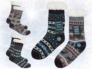 Boys Fairisle Knit Cosy Lounge Socks Fleece Lined Anti Slip Slipper Socks Gift