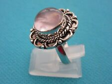 925 Sterling Silver Ring With Natural Rose Quartz UK P, US 7.75 (rg2776)