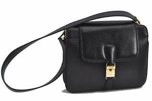 Authentic GUCCI Shoulder Cross Body Bag Leather Black E2598