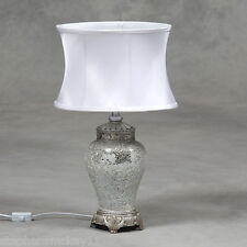 Mosaico de vidrio triturado Plata Lámpara De Mesa Con Pantalla Oval De Seda Blanca 62cm Alta