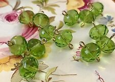Peridot Connectors, Vintage Glass Connectors, Czech Beads, Faceted Beads, #1282B
