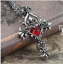 New Gothic Vampire Diaries Red Sacred Heart Memorial Cross Pendant Necklace HS