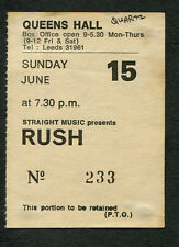 1980 Rush Quartz concert ticket stub Leeds Permanent Waves The Spirit Of Radio