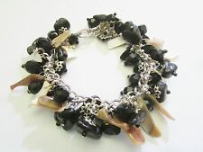 Shiny BLACK Stone & GOLDEN Tan SHELL  Handcrafted VINTAGE Bead CHARM Bracelet +