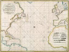 1797 Chart The Atlantic or Western Ocean Survey Coastal Nautical Map Wall Poster