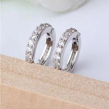 Damen Schmuck Weiß Gemstones Kristall Strass Hoop Ohrringe Geschenk