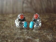 Native American Sterling Silver Turquoise Coral Post Earrings by Joe