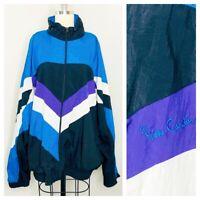 Vintage Pierre Cardin Mens Jacket Size XL Color Block Windbreaker Full Zip Lined
