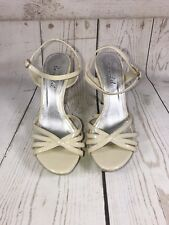 Bonnibel Strappy Patent Leather High Heels Taupe Cream Size 6