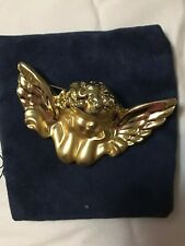 Vintage Cherub Pin/Brooch With Wings. Gold Tone.