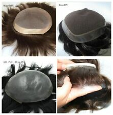 Men's Toupee Replacement System Remy Human Hair Hairpiece Thin Skin PU Topper US