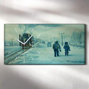 Wandbild Leinwand Bilder mit Uhr Geräuschlos 60x30 Zug Winter Malerei Bahnhof